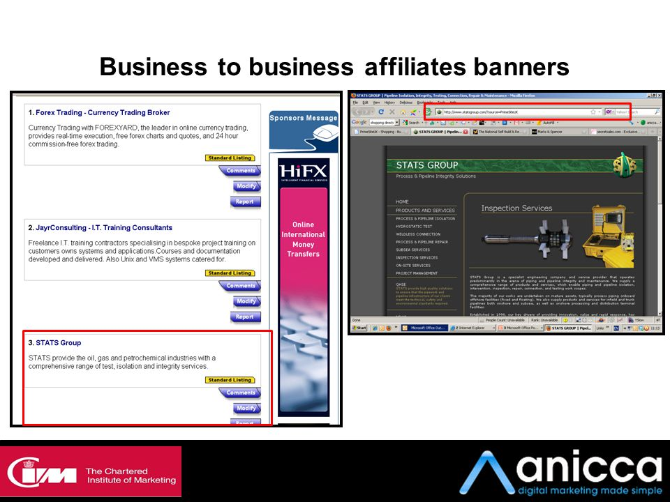Business to business affiliates banners