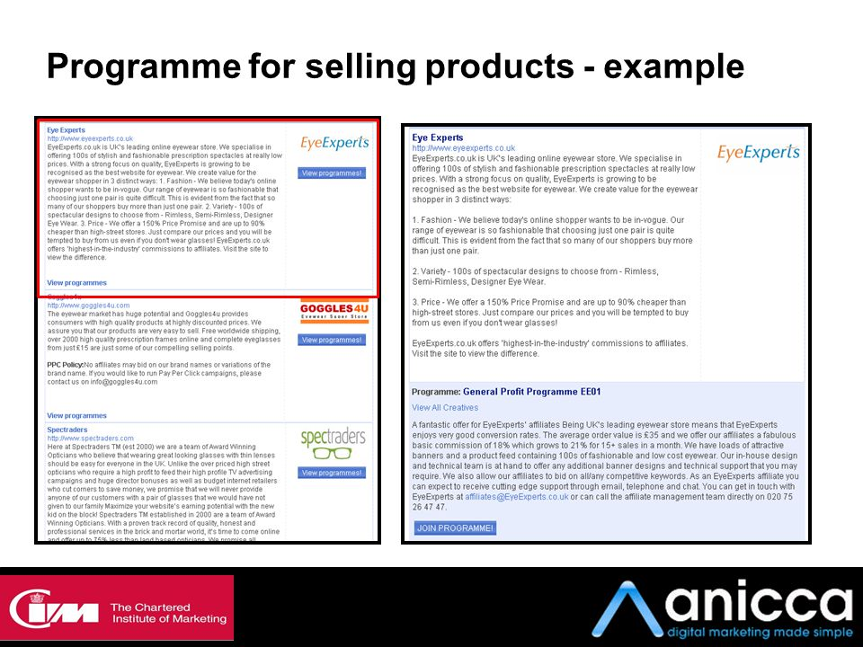 Programme for selling products - example
