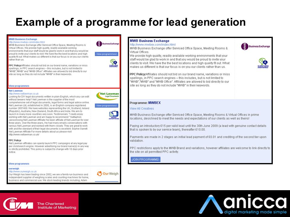 Example of a programme for lead generation