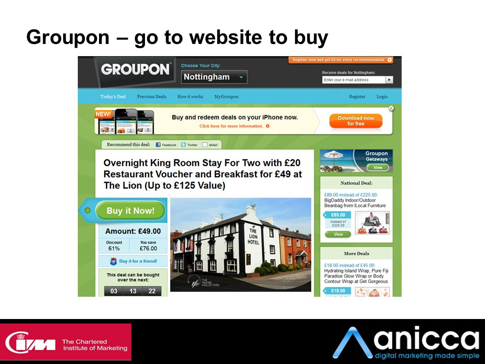 Groupon – go to website to buy
