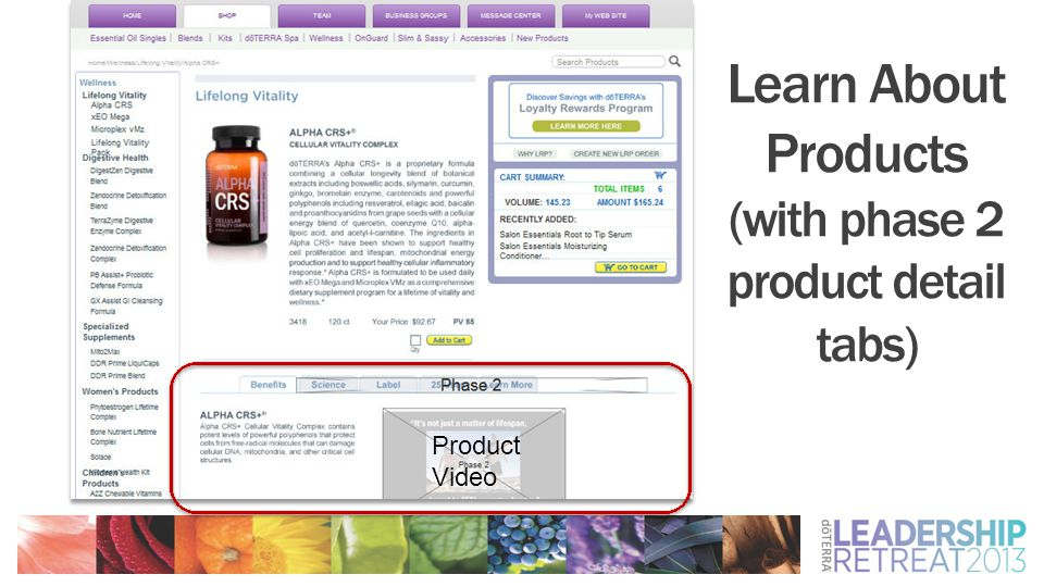 Learn About Products (with phase 2 product detail tabs) Product Video