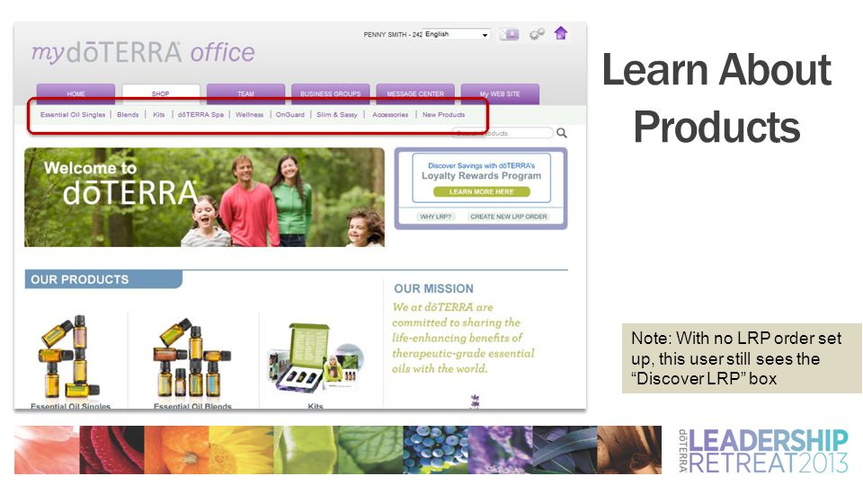 """Learn About Products Note: With no LRP order set up, this user still sees the """"Discover LRP"""" box"""