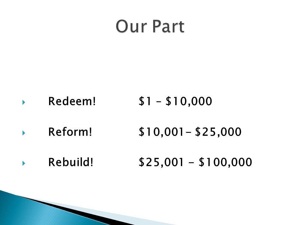  Redeem!$1 – $10,000  Reform!$10,001- $25,000  Rebuild!$25,001 - $100,000