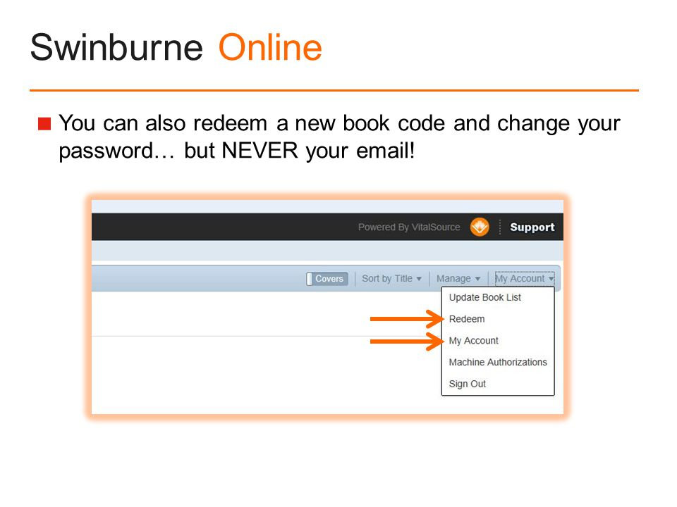 Swinburne Online  You can also redeem a new book code and change your password… but NEVER your  !