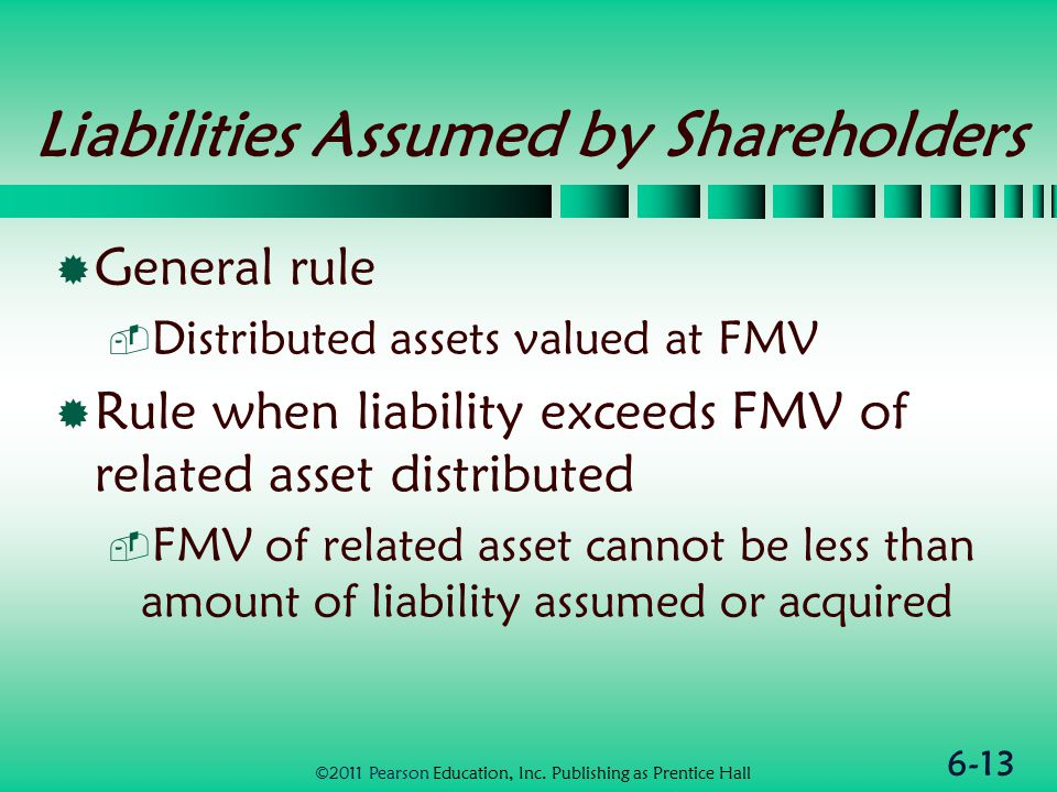 6-13 Liabilities Assumed by Shareholders  General rule  Distributed assets valued at FMV  Rule when liability exceeds FMV of related asset distributed  FMV of related asset cannot be less than amount of liability assumed or acquired ©2011 Pearson Education, Inc.