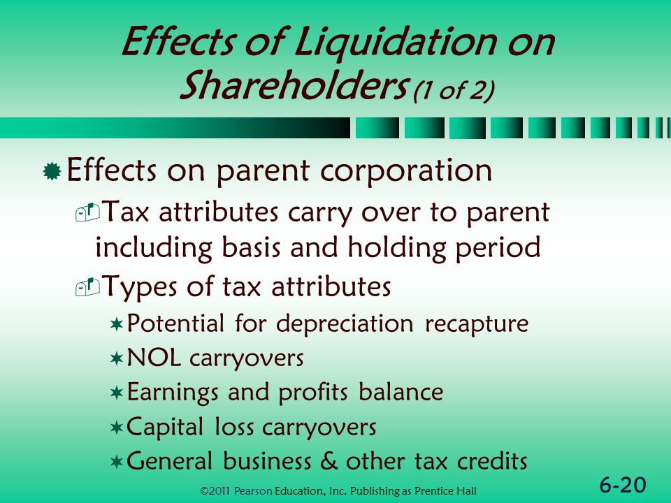 6-20 Effects of Liquidation on Shareholders (1 of 2)  Effects on parent corporation  Tax attributes carry over to parent including basis and holding period  Types of tax attributes  Potential for depreciation recapture  NOL carryovers  Earnings and profits balance  Capital loss carryovers  General business & other tax credits ©2011 Pearson Education, Inc.