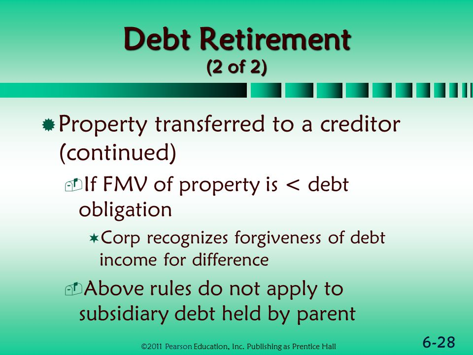 6-28 Debt Retirement (2 of 2)  Property transferred to a creditor (continued)  If FMV of property is < debt obligation  Corp recognizes forgiveness of debt income for difference  Above rules do not apply to subsidiary debt held by parent ©2011 Pearson Education, Inc.