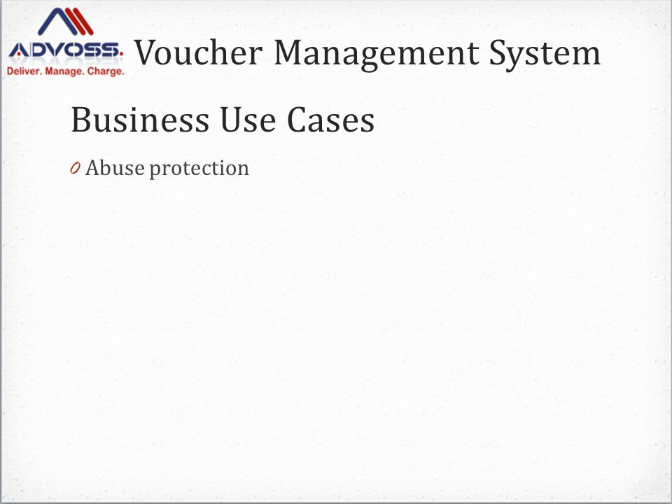 Voucher Management System 0 Abuse protection Business Use Cases