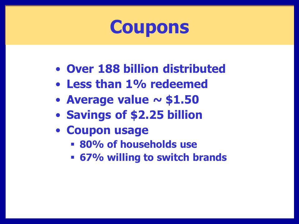 Coupons Over 188 billion distributed Less than 1% redeemed Average value ~ $1.50 Savings of $2.25 billion Coupon usage  80% of households use  67% willing to switch brands