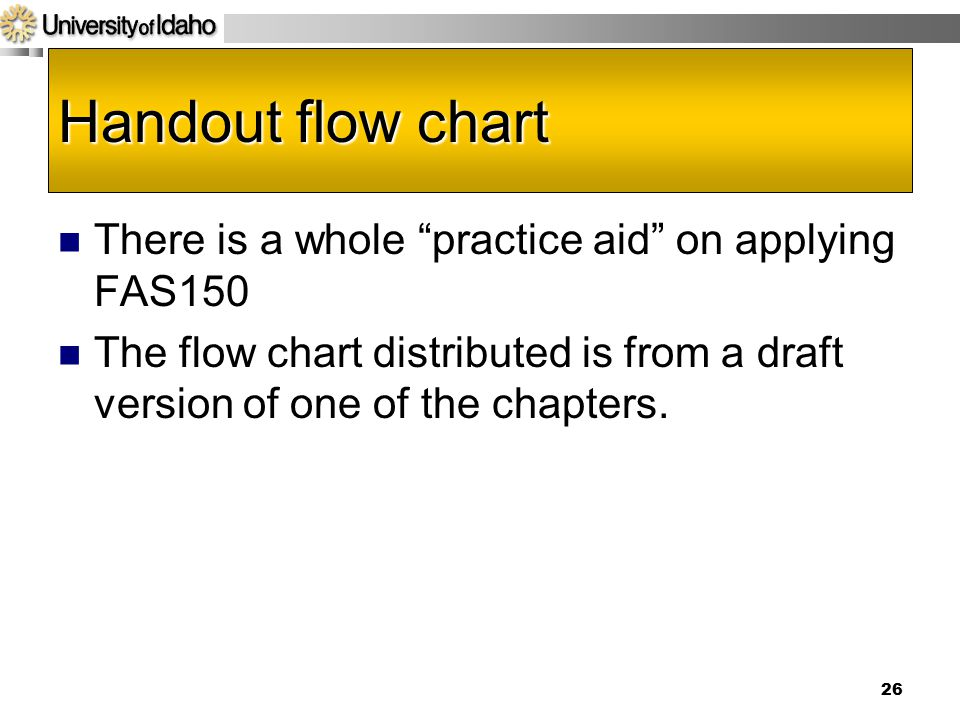 Handout flow chart There is a whole practice aid on applying FAS150 The flow chart distributed is from a draft version of one of the chapters.