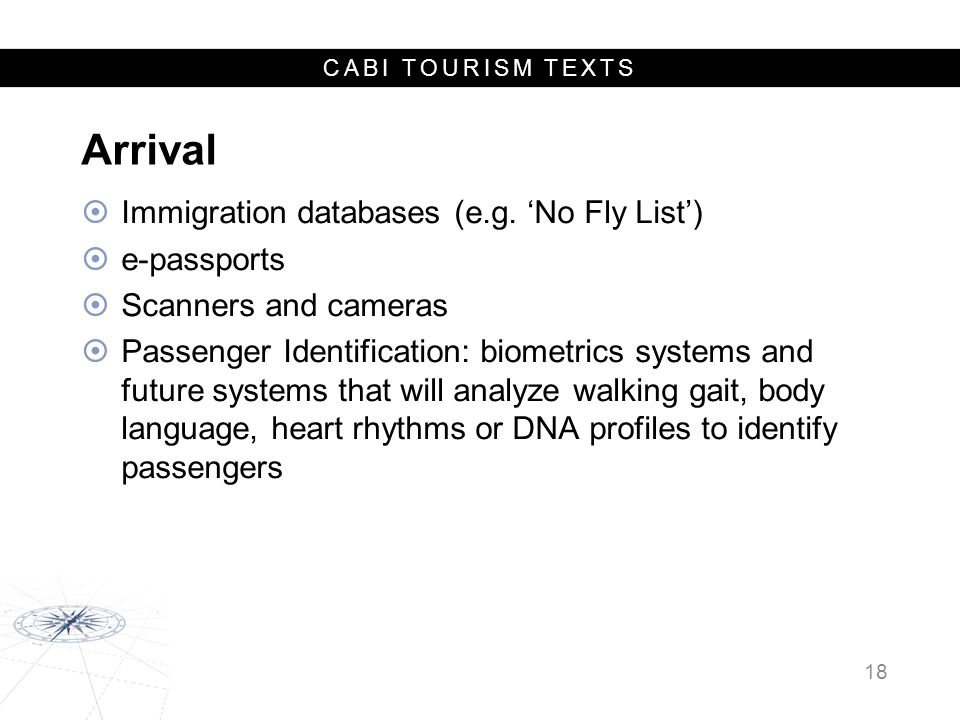 CABI TOURISM TEXTS Arrival  Immigration databases (e.g.