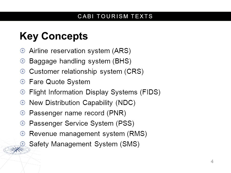 CABI TOURISM TEXTS Types of Airlines National flag carriers Commercial airlines Low-cost carriers (LCCs) Charter airlines 5