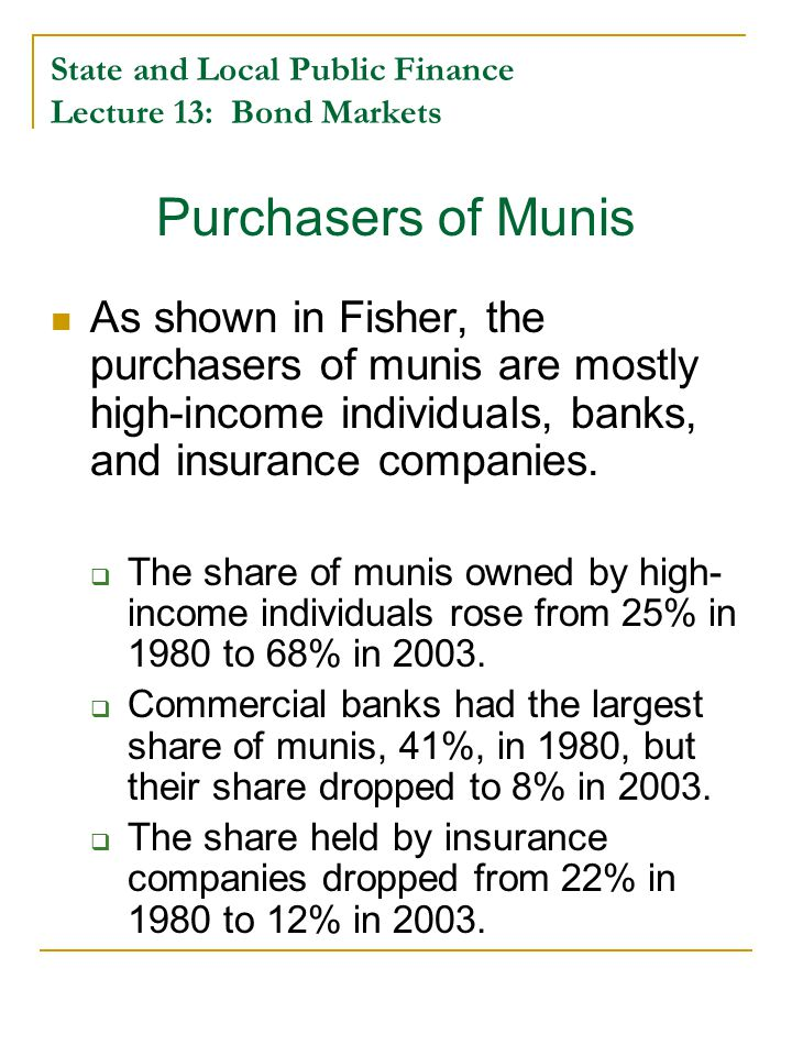 State and Local Public Finance Lecture 13: Bond Markets Purchasers of Munis As shown in Fisher, the purchasers of munis are mostly high-income individuals, banks, and insurance companies.