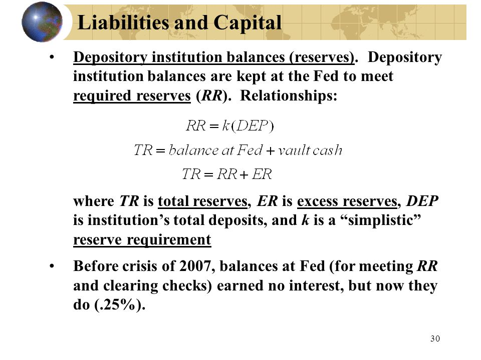 30 Liabilities and Capital Depository institution balances (reserves).