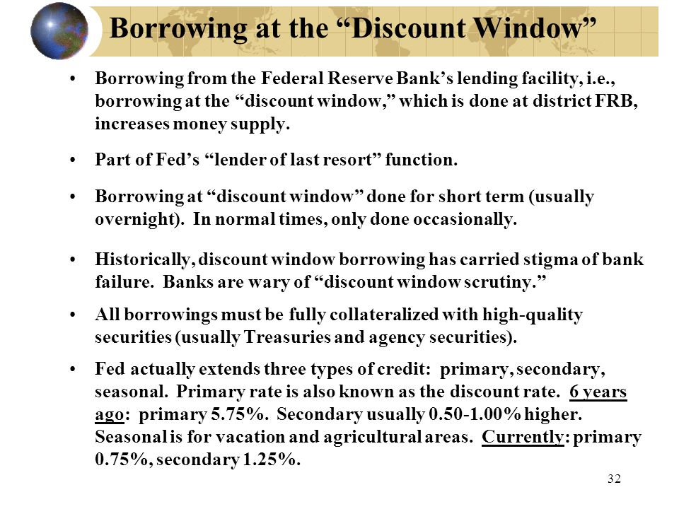 32 Borrowing at the Discount Window Borrowing from the Federal Reserve Bank's lending facility, i.e., borrowing at the discount window, which is done at district FRB, increases money supply.