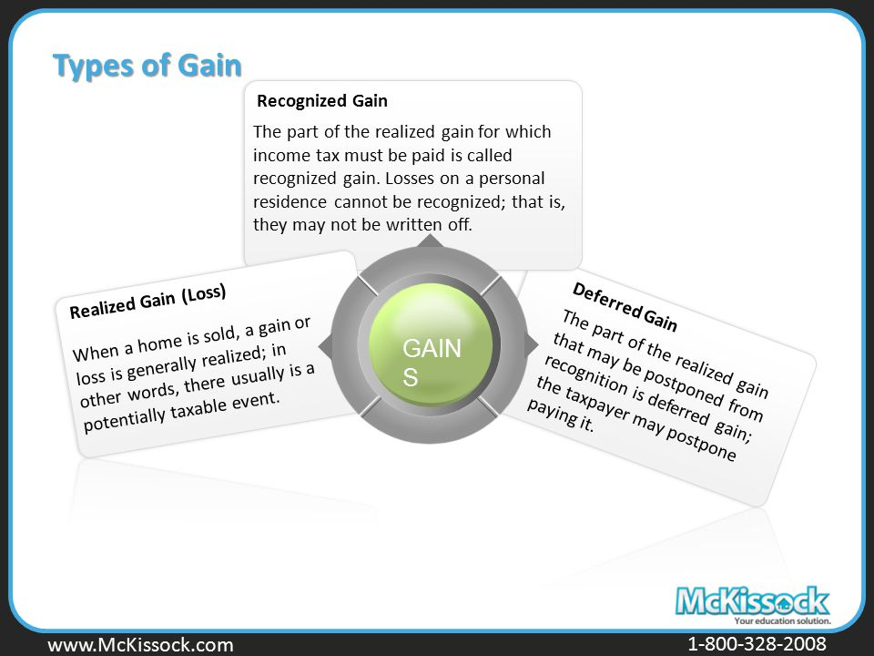 www.Mckissock.com www.McKissock.com 1-800-328-2008 Types of Gain The part of the realized gain that may be postponed from recognition is deferred gain