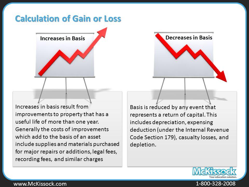 www.Mckissock.com www.McKissock.com 1-800-328-2008 Calculation of Gain or Loss Increases in Basis Decreases in Basis Increases in basis result from im