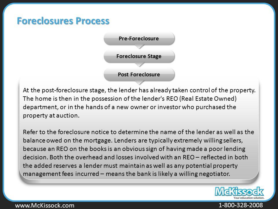 www.Mckissock.com www.McKissock.com 1-800-328-2008 Foreclosures Process Pre-Foreclosure Post Foreclosure Foreclosure Stage At the post-foreclosure sta