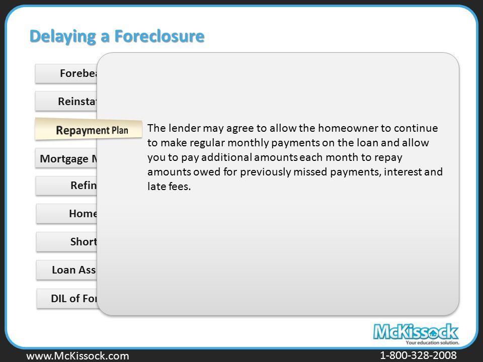 www.Mckissock.com www.McKissock.com 1-800-328-2008 Forebearance Short Sale Loan Assumption DIL of Foreclosure Delaying a Foreclosure Reinstatement Mor