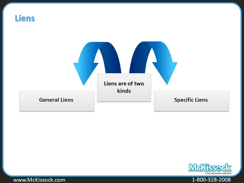 www.Mckissock.com www.McKissock.com 1-800-328-2008 Liens are of two kinds General Liens Liens Specific Liens