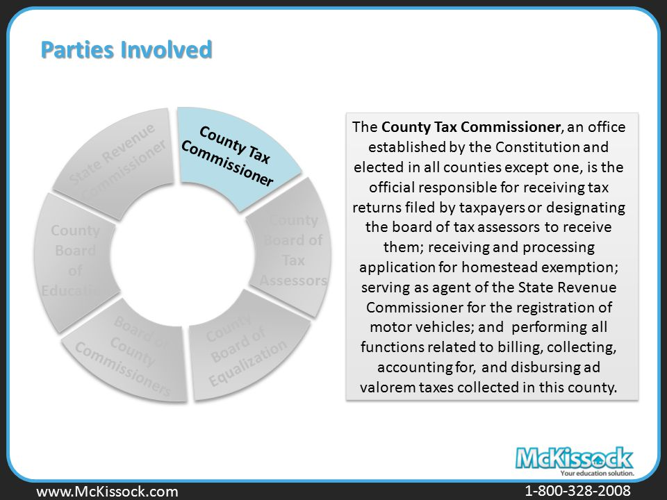 www.Mckissock.com www.McKissock.com 1-800-328-2008 Parties Involved County Tax Commissioner County Board of Tax Assessors County Board of Equalization