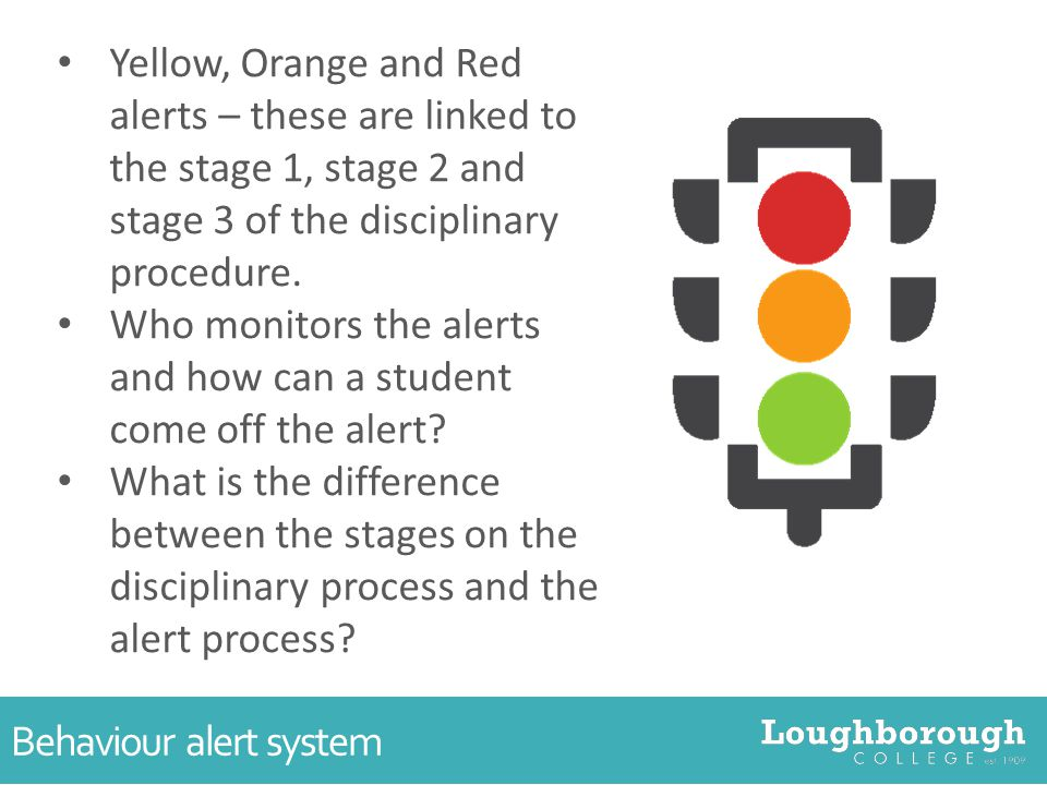 Behaviour alert system Yellow, Orange and Red alerts – these are linked to the stage 1, stage 2 and stage 3 of the disciplinary procedure.