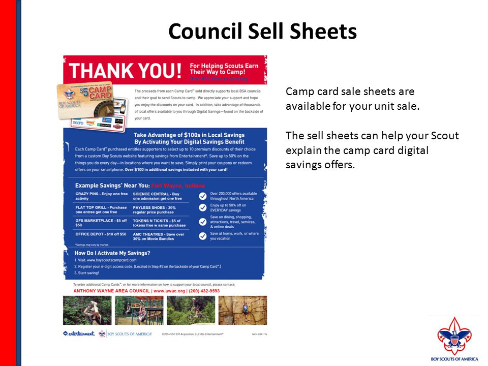 Council Sell Sheets Camp card sale sheets are available for your unit sale.