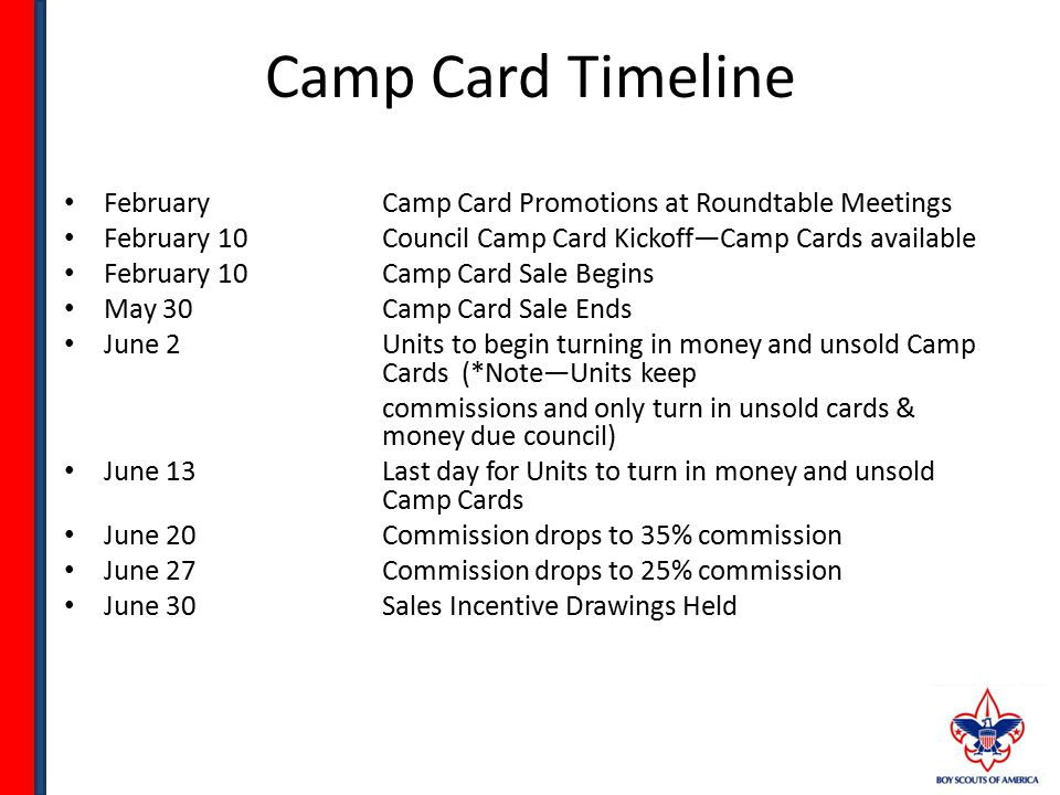 Camp Card Timeline FebruaryCamp Card Promotions at Roundtable Meetings February 10Council Camp Card Kickoff—Camp Cards available February 10Camp Card Sale Begins May 30Camp Card Sale Ends June 2Units to begin turning in money and unsold Camp Cards (*Note—Units keep commissions and only turn in unsold cards & money due council) June 13Last day for Units to turn in money and unsold Camp Cards June 20Commission drops to 35% commission June 27Commission drops to 25% commission June 30Sales Incentive Drawings Held