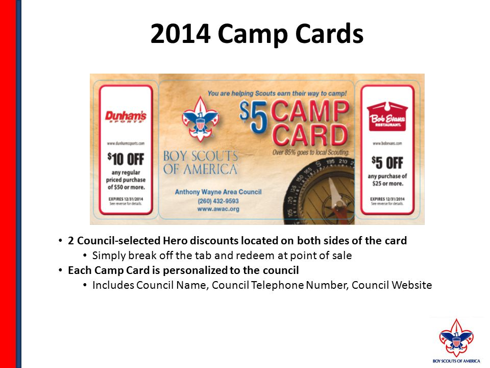 Chuck Walker P: (260) 432-9593 Chuck.walker@scouting.org For council-specific questions on the discounts available on your Camp Card, please contact: