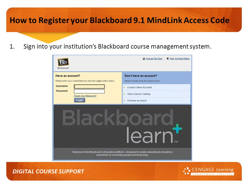 How to Register your Blackboard 9.1 MindLink Access Code 1.Sign into your institution's Blackboard course management system.
