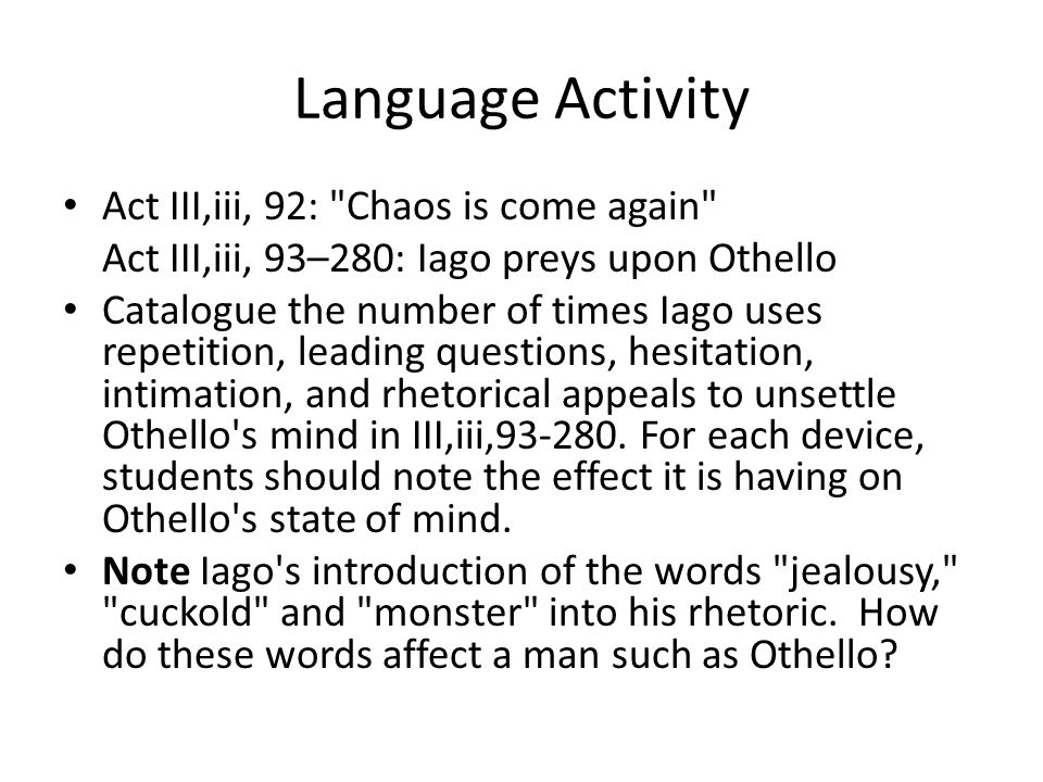 literary essay of othello Iago character analysis essay - free download as word doc (doc), pdf file (pdf), text file (txt) or read online for free a short high school essay produced while studying othello.