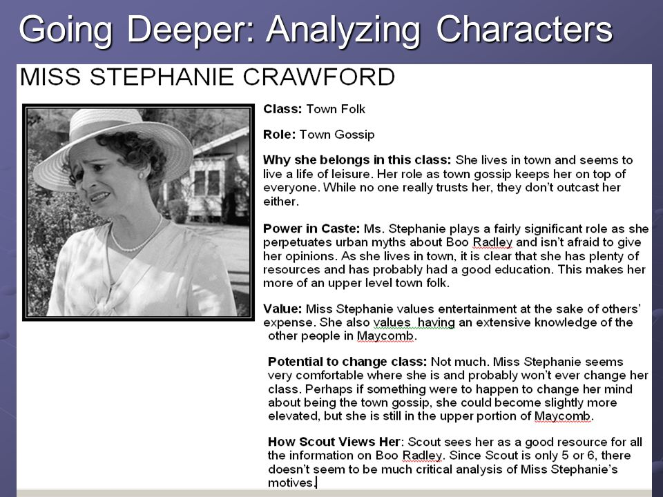 Going Deeper: Analyzing Characters