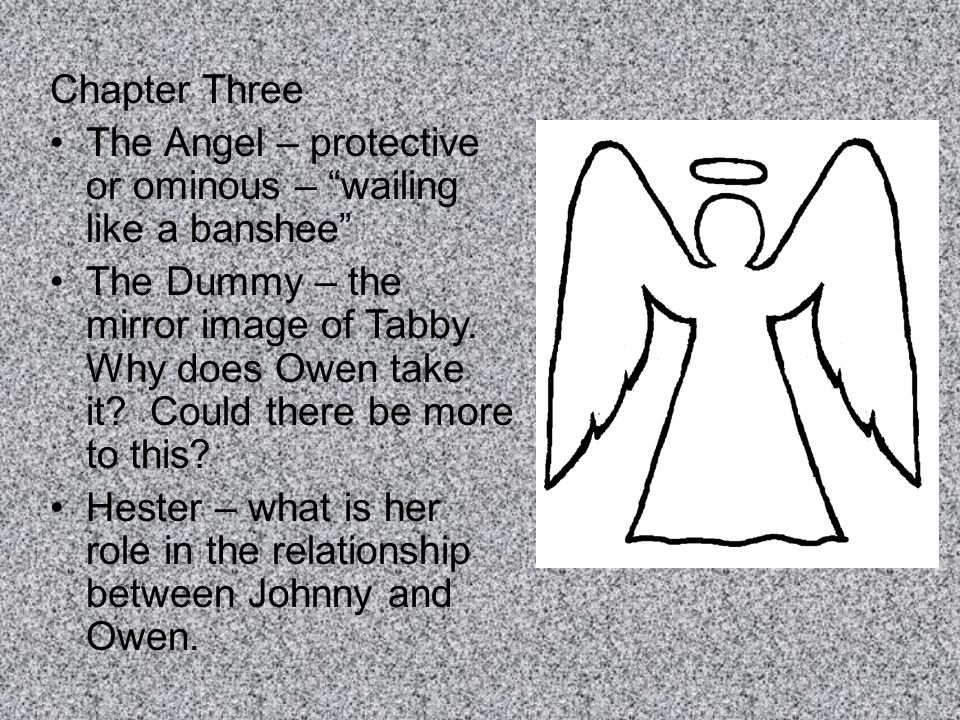 "Chapter Three The Angel – protective or ominous – ""wailing like a banshee"" The Dummy – the mirror image of Tabby. Why does Owen take it? Could there b"