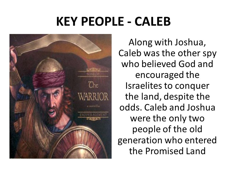 KEY PEOPLE - CALEB Along with Joshua, Caleb was the other spy who believed God and encouraged the Israelites to conquer the land, despite the odds.