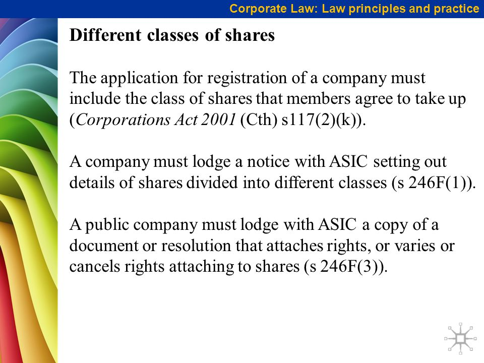 Corporate Law: Law principles and practice Different classes of shares The application for registration of a company must include the class of shares