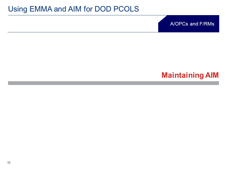 15 Using EMMA and AIM for DOD PCOLS A/OPCs and F/RMs Maintaining AIM