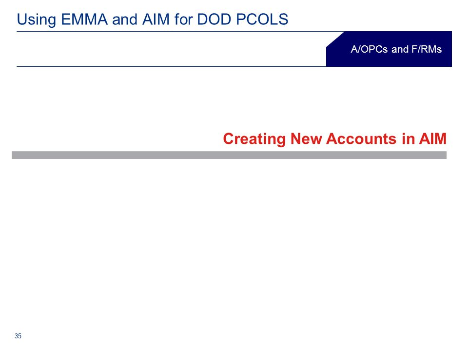 35 Using EMMA and AIM for DOD PCOLS A/OPCs and F/RMs