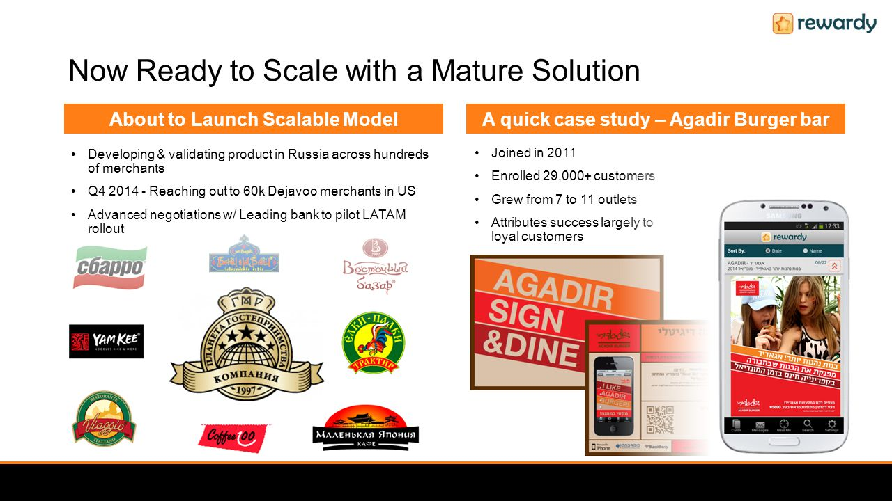 Now Ready to Scale with a Mature Solution Joined in 2011 Enrolled 29,000+ customers Grew from 7 to 11 outlets Attributes success largely to loyal customers Developing & validating product in Russia across hundreds of merchants Q4 2014 - Reaching out to 60k Dejavoo merchants in US Advanced negotiations w/ Leading bank to pilot LATAM rollout About to Launch Scalable Model A quick case study – Agadir Burger bar