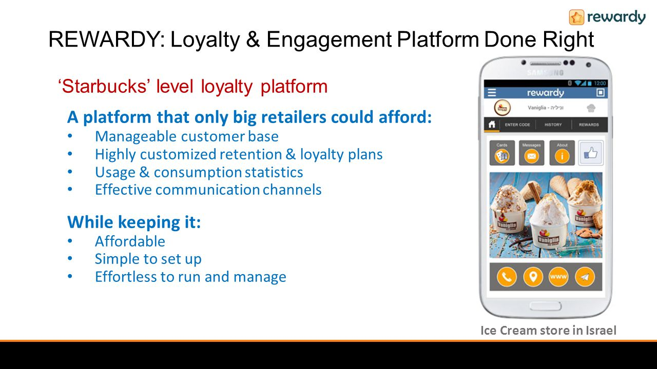 'Starbucks' level loyalty platform A platform that only big retailers could afford: Manageable customer base Highly customized retention & loyalty plans Usage & consumption statistics Effective communication channels While keeping it: Affordable Simple to set up Effortless to run and manage Ice Cream store in Israel REWARDY: Loyalty & Engagement Platform Done Right