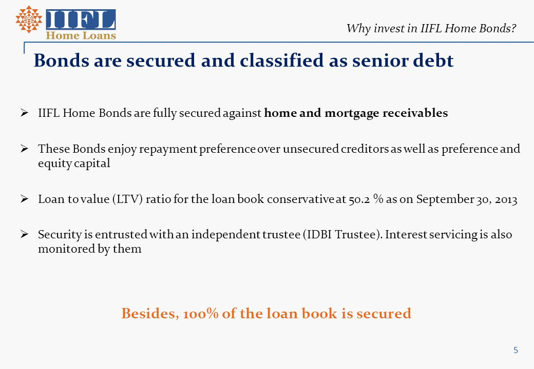 Why invest in IIFL Home Bonds? Bonds are secured and classified as senior debt  IIFL Home Bonds are fully secured against home and mortgage receivabl