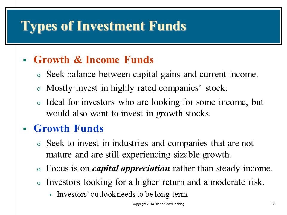 Copyright 2014 Diane Scott Docking33 Types of Investment Funds  Growth & Income Funds o Seek balance between capital gains and current income.