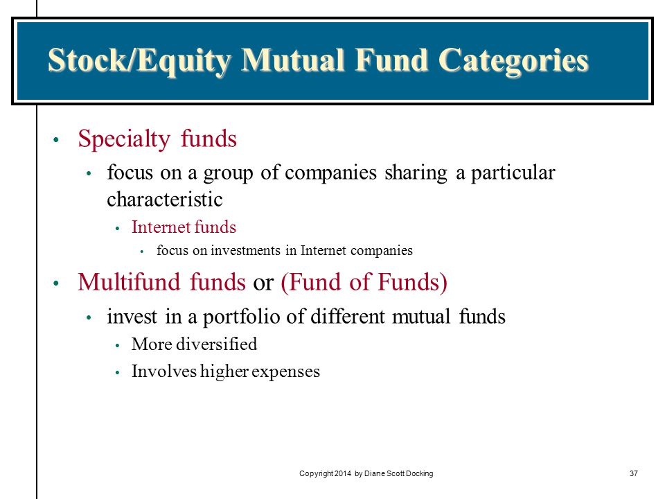 Copyright 2014 by Diane Scott Docking37 Stock/Equity Mutual Fund Categories Specialty funds focus on a group of companies sharing a particular characteristic Internet funds focus on investments in Internet companies Multifund funds or (Fund of Funds) invest in a portfolio of different mutual funds More diversified Involves higher expenses