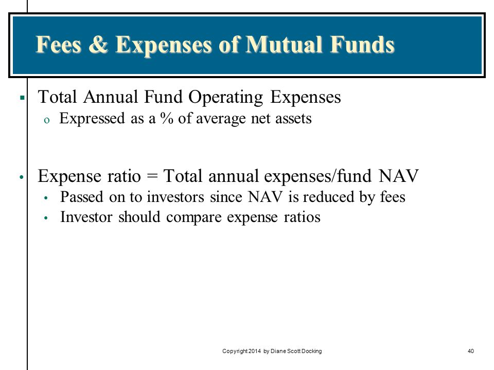 Copyright 2014 by Diane Scott Docking40 Fees & Expenses of Mutual Funds  Total Annual Fund Operating Expenses o Expressed as a % of average net assets Expense ratio = Total annual expenses/fund NAV Passed on to investors since NAV is reduced by fees Investor should compare expense ratios