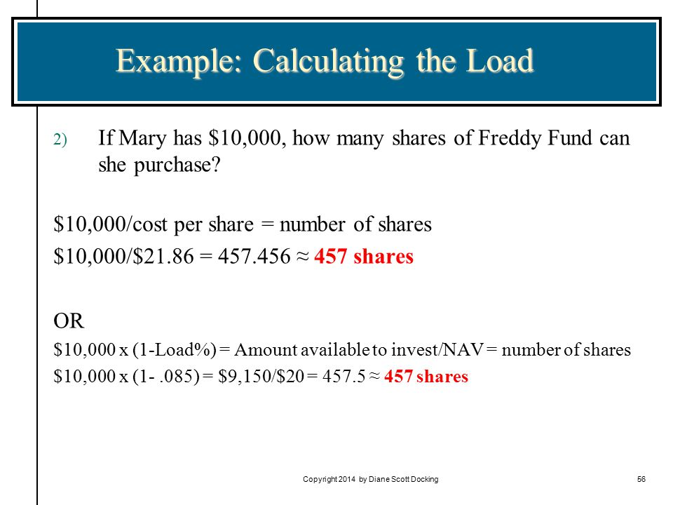 Copyright 2014 by Diane Scott Docking56 Example: Calculating the Load 2) If Mary has $10,000, how many shares of Freddy Fund can she purchase.