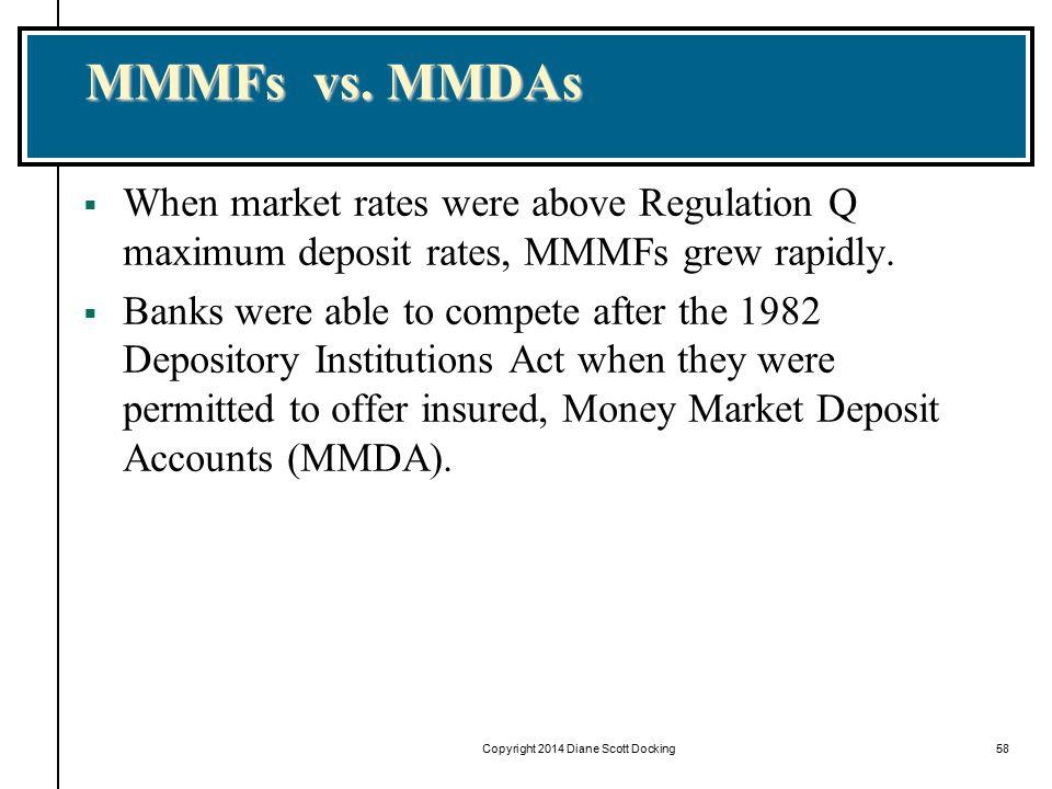 Copyright 2014 Diane Scott Docking58 MMMFs vs. MMDAs  When market rates were above Regulation Q maximum deposit rates, MMMFs grew rapidly.  Banks we