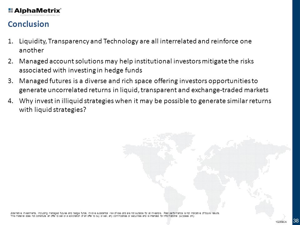 Alternative Investments, including managed futures and hedge funds, involve substantial risk of loss and are not suitable for all investors. Past perf
