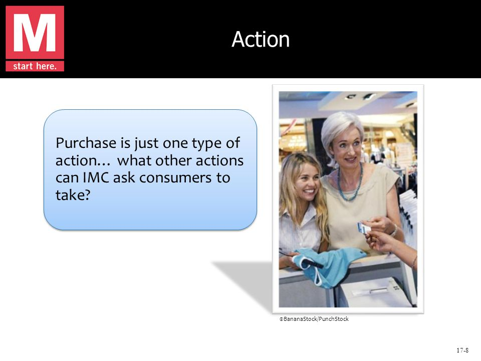 17-8 Action Purchase is just one type of action… what other actions can IMC ask consumers to take.
