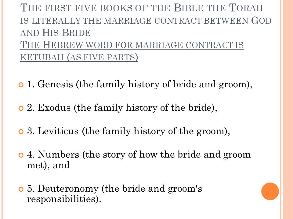 T HE FIRST FIVE BOOKS OF THE B IBLE THE T ORAH IS LITERALLY THE MARRIAGE CONTRACT BETWEEN G OD AND H IS B RIDE T HE H EBREW WORD FOR MARRIAGE CONTRACT IS KETUBAH ( AS FIVE PARTS ) 1.