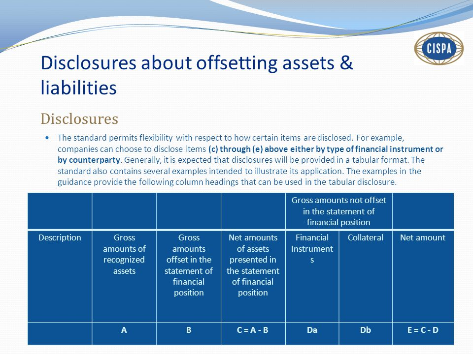 Disclosures about offsetting assets & liabilities Disclosures The standard permits flexibility with respect to how certain items are disclosed. For ex