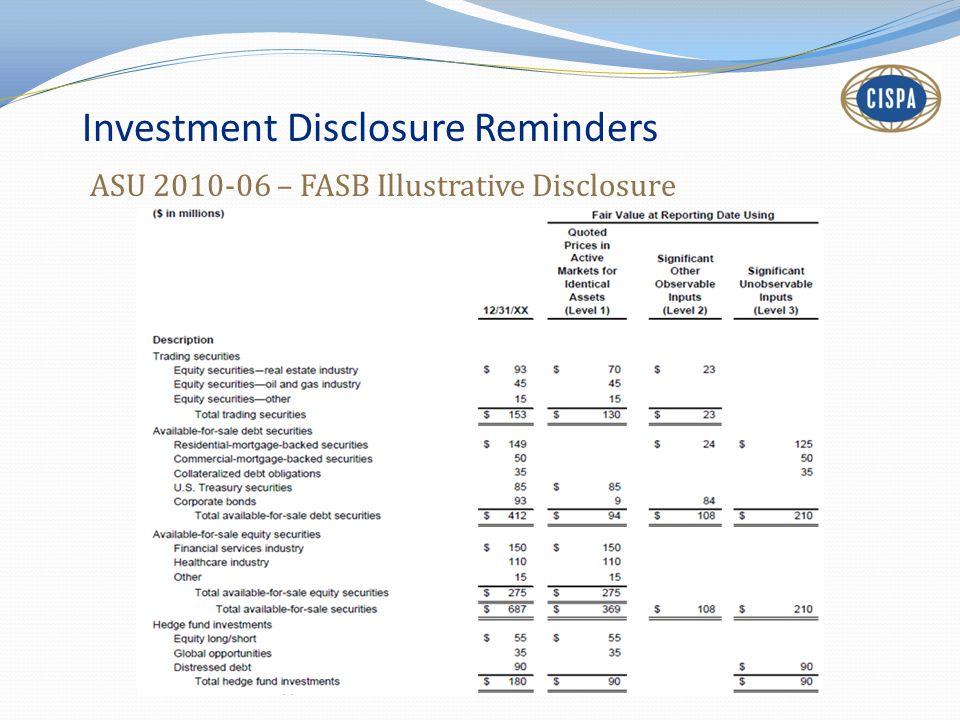 Investment Disclosure Reminders ASU 2010-06 – FASB Illustrative Disclosure